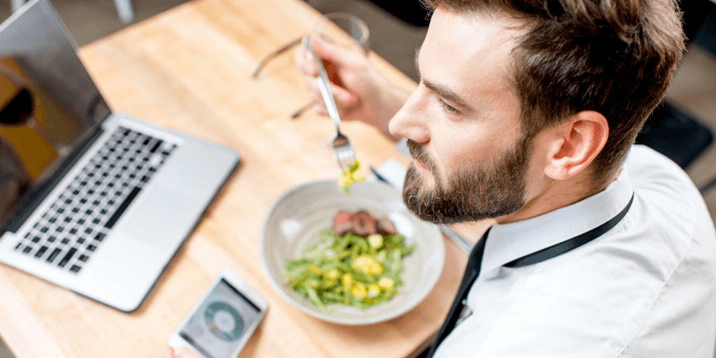eating at computer while working