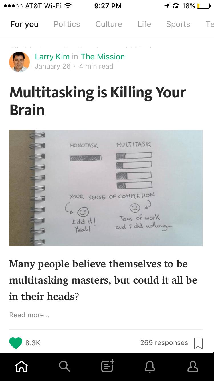 Medium Publishing Tips - Mobile Teaser Feed