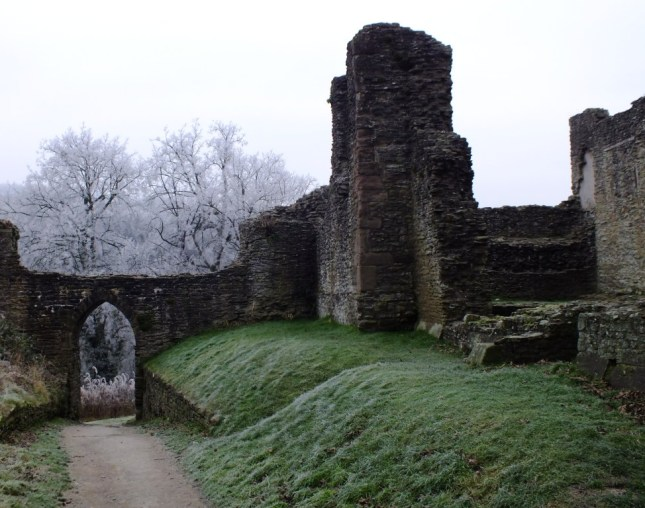 ludlow castle on a frosty day