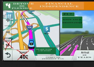 GPS showing financial destination