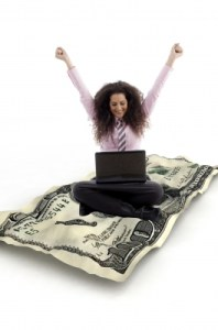 Business Lady Making Cash Online
