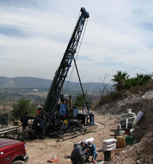 Diamond core drill at Cerro Jumil