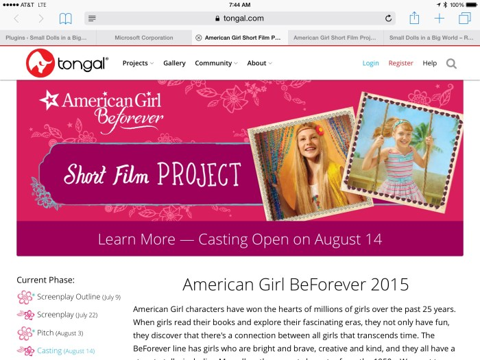 American Girl 2015 Short Film Project