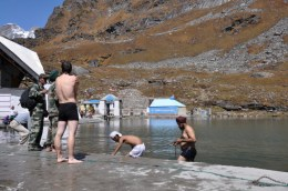 Take a dip in the ice cold Hemkund Sahib lake with hunderds of Sikh pilgrims