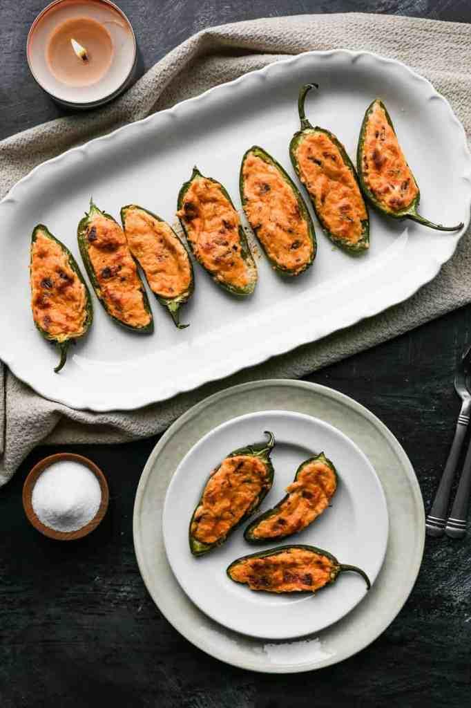a platter of gluten free jalapeño poppers