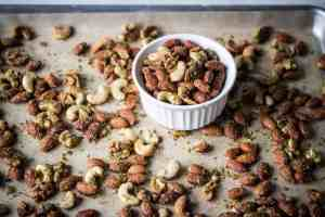 small bowl of air fryer savory herb roasted nuts