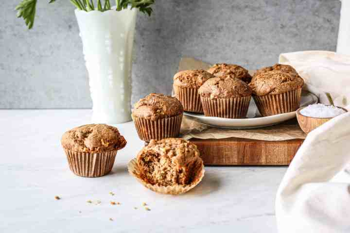 a plate full of gluten free apple spice muffins