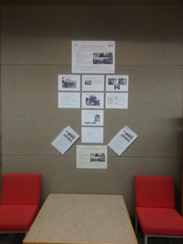A display at St Albans Public Library providing information on our Project
