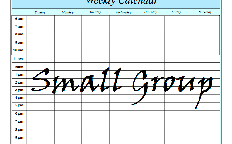 Small Group Weekly Calender