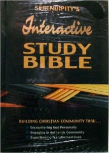 """From the back cover: """"Interactive Study Bible: the culmination of 40 years of community building by Serendipity House Publishers. now the complete Bible with group studies and resource notes integrated into a biblical curriculum to produce transformed lives... *Interactive Group Studies * Bible Resource Notes * Courses * Reading and Study Plans."""