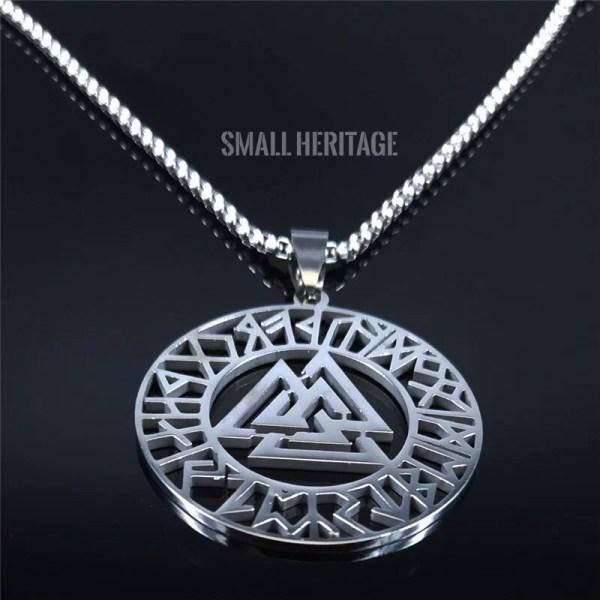 Viking Amulet Pendant Stainless Steel Norse Necklace Nordic Runes Odin Women Men