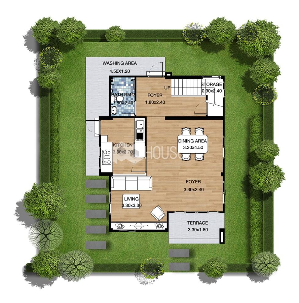 Small Modern House 7x9 Meter 2 Bedrooms ground floor