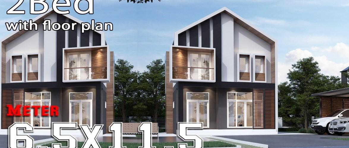 House Design Plans 6.5×11.5 Meters 2 Bedrooms