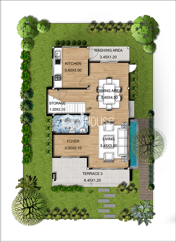 House Design Plans 6.5x11.5 Meters 2 Bedrooms ground floor