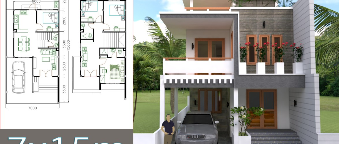 House Plans 7x15M 23x49F 4 Beds