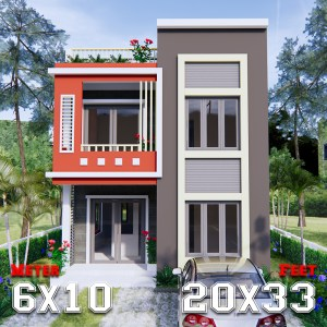 3d House Design 6x10 Meters 20x33 Feet 2 Beds a1
