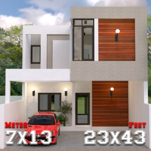 Modern House Design 7x13m with 3 Bedrooms a1