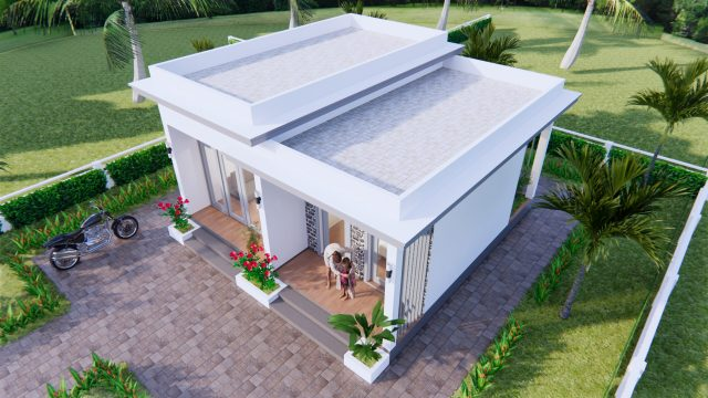 Modern Small House Design 7x7 Meter 23x23 Feet One Bed 4