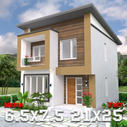 Simple House Plans 6.5x7.5 Meter 22x25 Feet 2 Beds a1