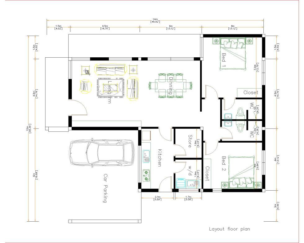 Modern House Design 12x14 Meter 40x46 Feet 2 Beds House Layout floor plan