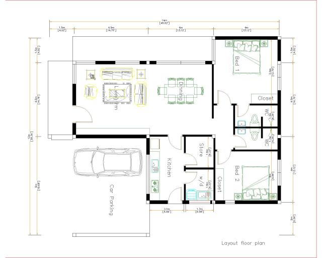 New House Design 12x14 Meter 40x46 Feet 2 Beds House Layout floor plan