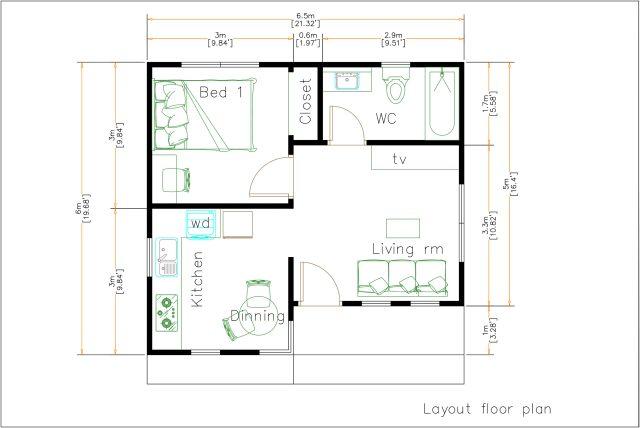Small Home Design 6.5x6 Meter 22x20 Feet Hip Roof floor plan