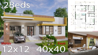 Small House Design with Terrace 12x12 Meter