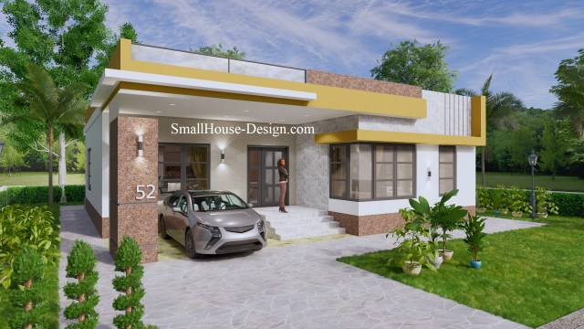 Small House Design with Terrace 12x12 Meter 3