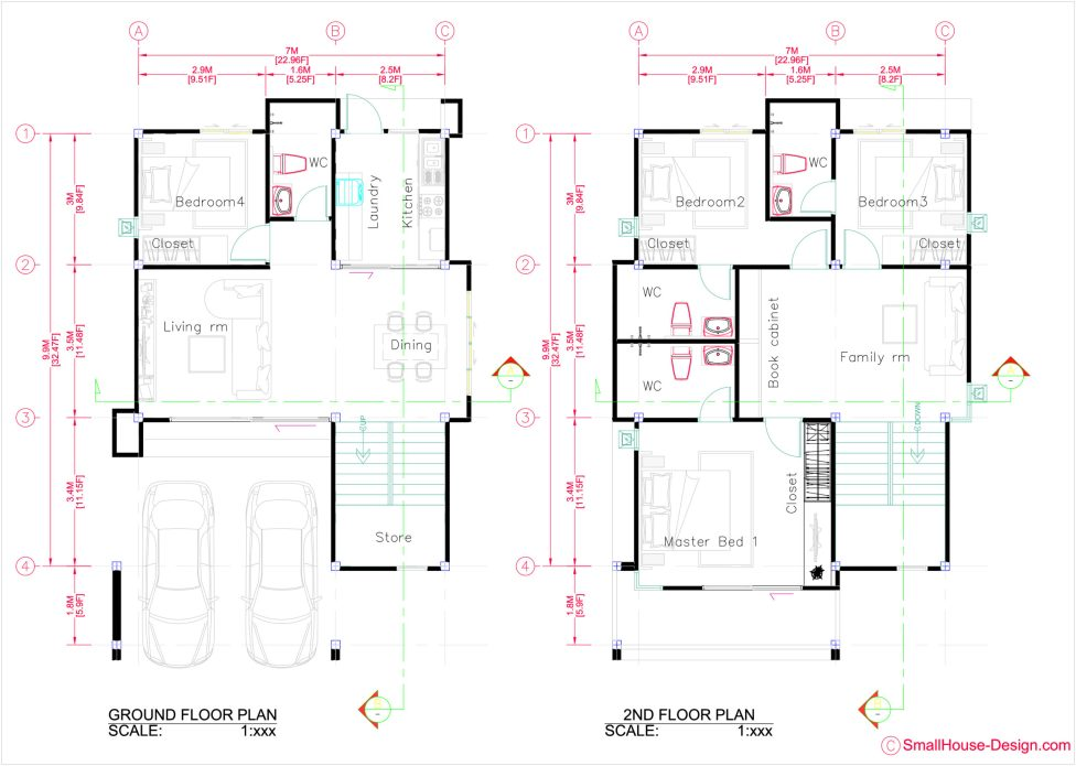 Small House Plan 7.5x11.7 Meter 25x40 Feet 4 Beds Layout floor plan