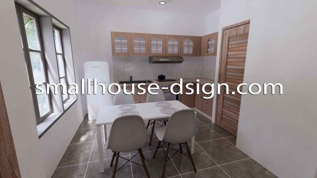 Small House Design 8x9 with 2 Bedrooms Terrace Roof 3D Kitchen and dining table1