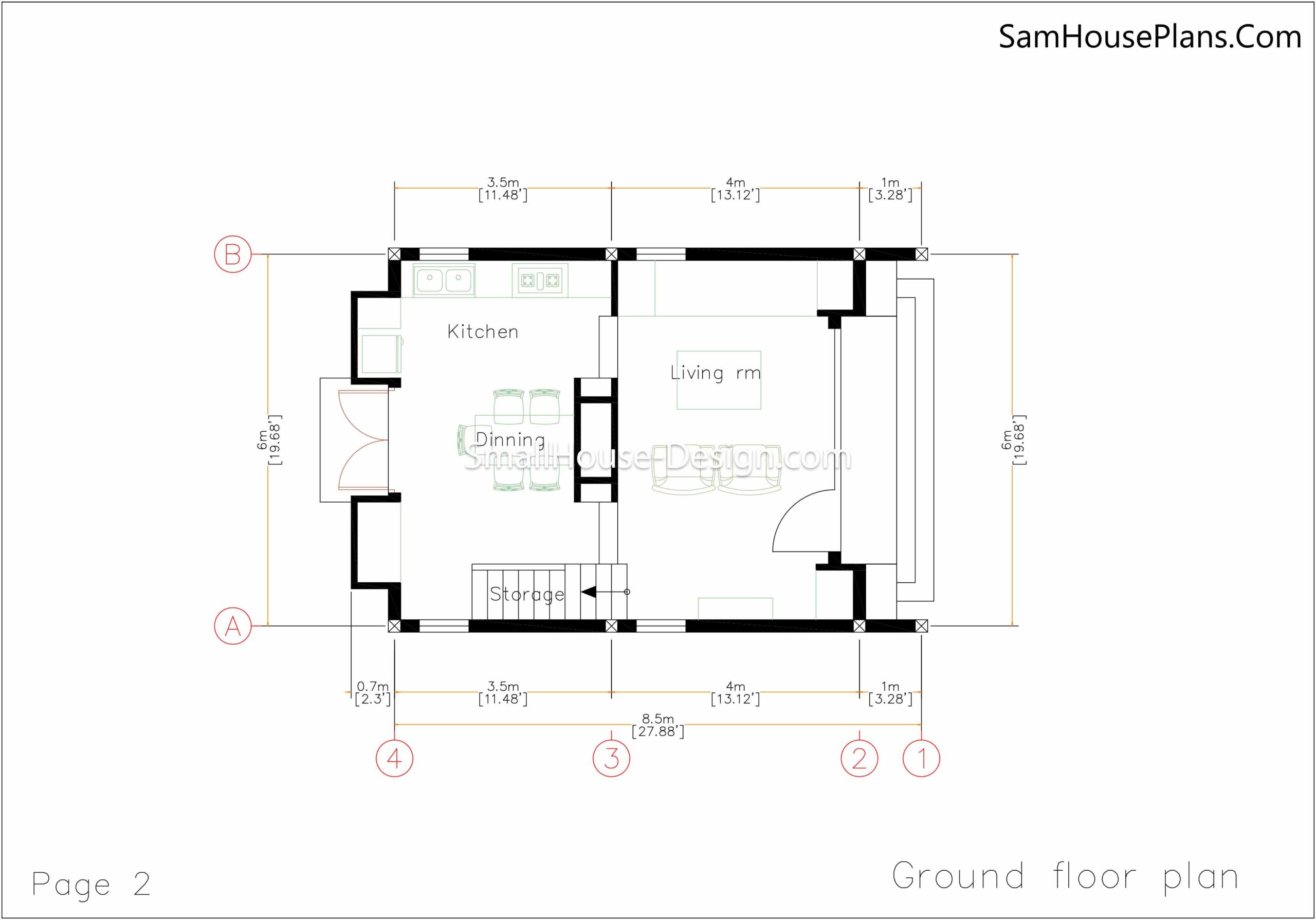 Small House Plan 6x8.5 Ground floor plan
