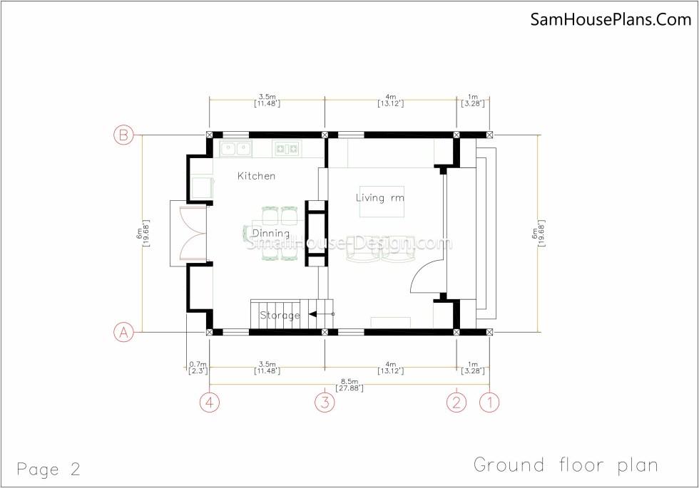 Small House Plan 6x8.5 Ground floor plan