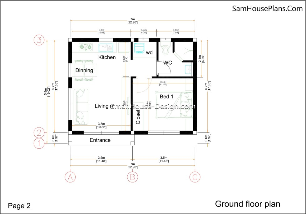 02- Ground floor plan Small House Design 7x6 Shed Roof 1 Bed PDF Full Plans