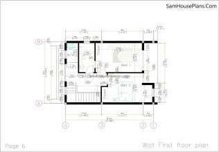 06 Wall First Floor Plan House design Idea 6x8.5 PDF Full Plans