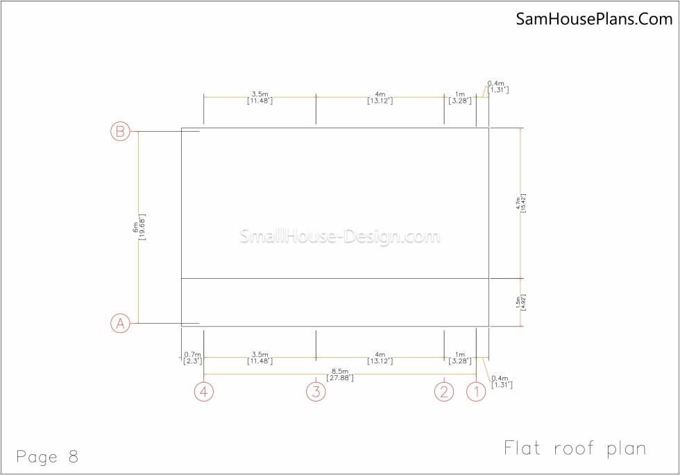 08 Roof plan Small House Plan 6x8.5 PDF Full Plans