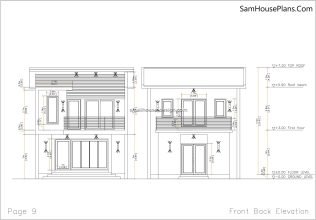09 Front Back elevation plan House design Idea 6x8.5 PDF Full Plans