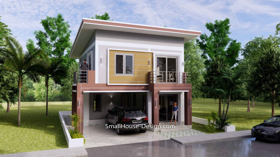 8x10 Small House Design 4 Bedrooms Shed Roof 3d 1