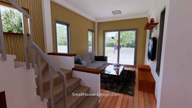 8x10 Small House Design 4 Bedrooms Shed Roof 3d Interior living room 1