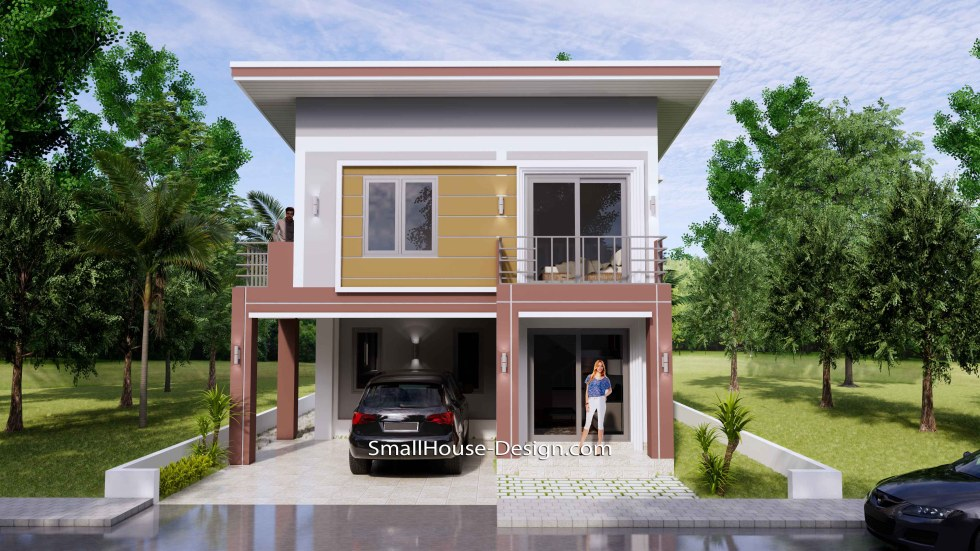 8x10 Small House Design 4 Bedrooms Shed Roof 3d front