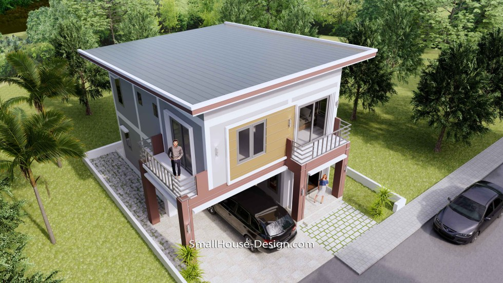 8x10 Small House Design 4 Bedrooms Shed Roof 3d roof