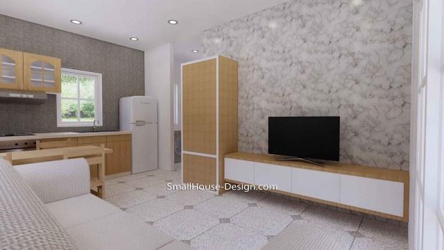 Granny Flat 7x5.2 Meter 1 Bedroom Gable Roof 23x17 Feet Living room