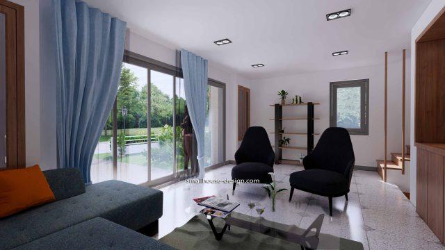 House Plans 6x7.5 Meters 2 Bedrooms Interior Living room 3
