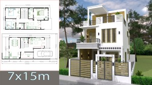 Small Home Plan 7x15 with 3 Bedrooms cover