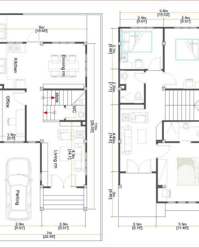 Small Home Plan 7x15 with 3 Bedrooms floor plan
