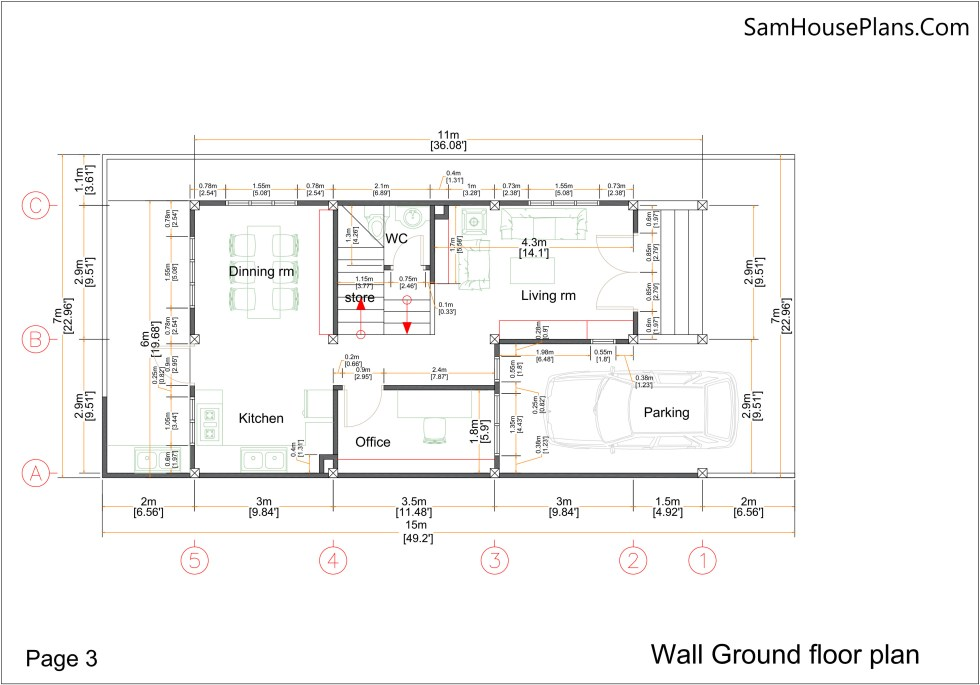 Small Home Plan 7x15 with 3 Bedrooms wall ground Floor Plan