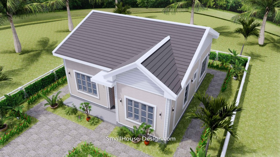 Small House Design 27x30 with 2 Bedrooms Gable Roof 3d 3