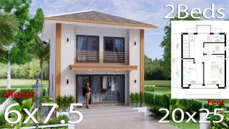Small House Design 6x7.5 Meters 45 sqm 2 Bedrooms