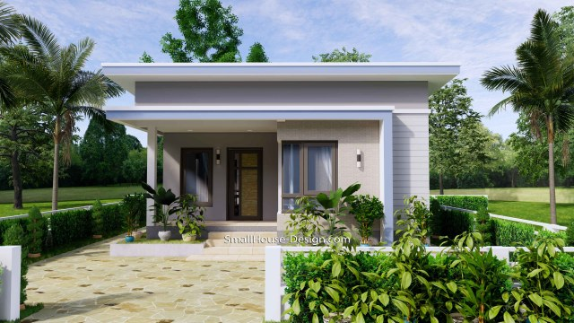 Small House Design 7x11 Meters 2 Bedrooms Shed Roof 23x36 Feet 2