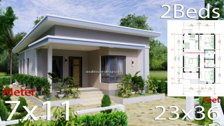 Small House Design 7x11 Meters 2 Bedrooms Shed Roof 23x36 Feet