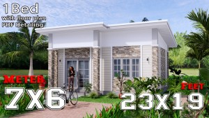 Small House Design 7x6 Shed Roof 1 Bed PDF Full Plans